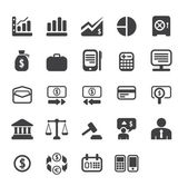 Finance and business vector icon set in black color button frame — Stock Photo
