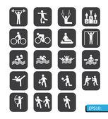 Vetor de ícones de esportes no botão preto — Foto Stock