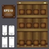 Smartphone s dřevěnými ikonu aplikace na pozadí — Stock fotografie