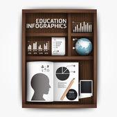 Creative infographics education shelf book box concept vector — Stock Vector
