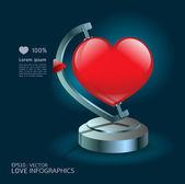 Moderno diseño infografía amor concepto globo, gráfico o websi — Vector de stock