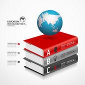 Modern Infographic şablonu ile kitap ve dünya bayrak — Stok Vektör