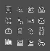 Business and finance white line Icons set — Stock Vector