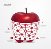 Apple dot Minimal style infographic template — ストックベクタ