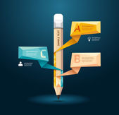 Pencil style infographic template — ストックベクタ