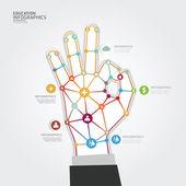 Plantilla de mano punto estilo minimalista infografía — Vector de stock
