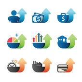 Arrow Graph chart Business Icons set — Stock Vector