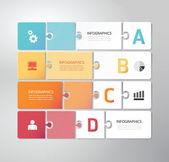 Modern Design Minimal jigsaw style infographic template — Stock Vector