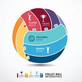 Plantilla de infografía con bandera de voleibol jigsaw — Vector de stock