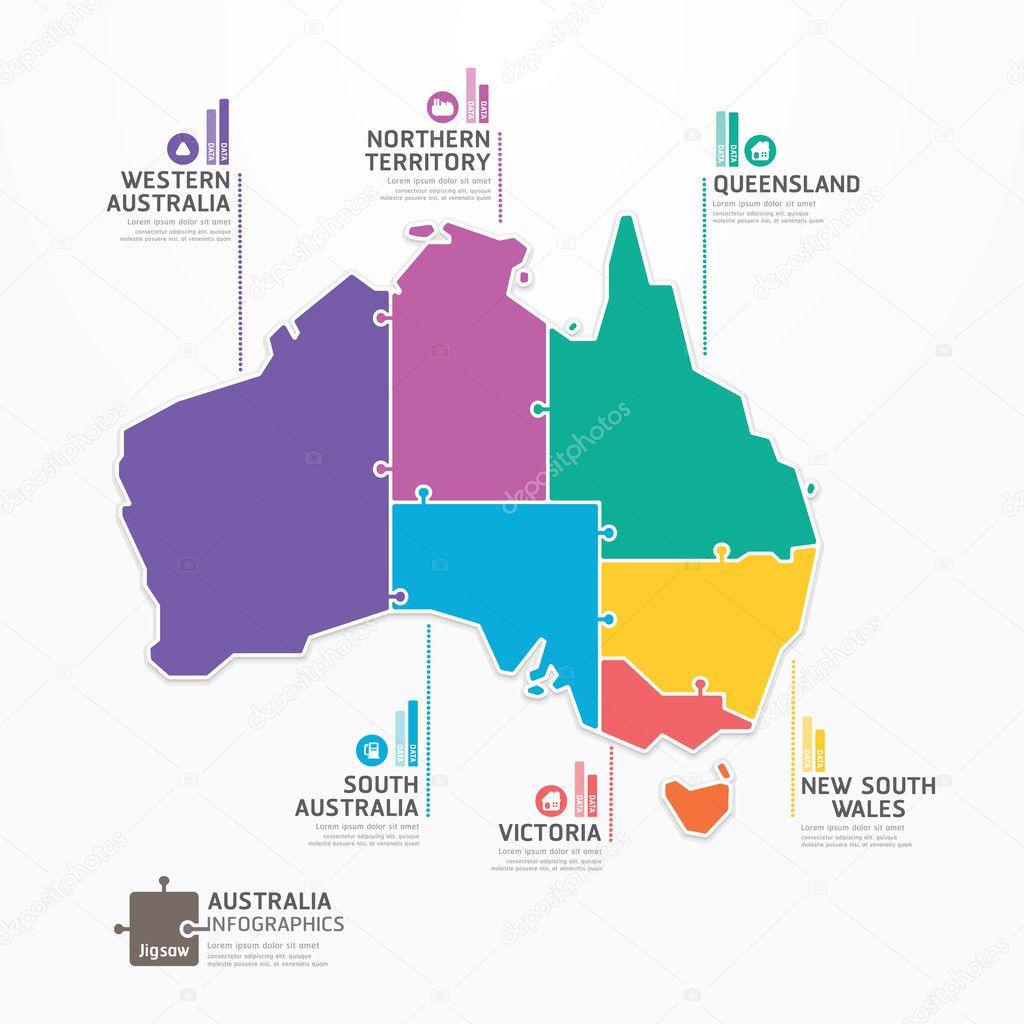 澳大利亚地图数据图表 — 图库矢量图片#42458991