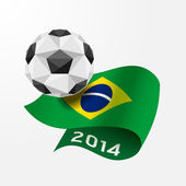 Soccer ball Geometric on Flag of Brazil 2014. — Stock Vector