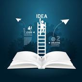 Infographic climbing ladder book diagram — Stock Vector