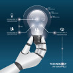 Robot hand hold Light bulbs — Stock Vector #44258477