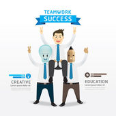 Teamwork of successful businessman cartoon — Wektor stockowy
