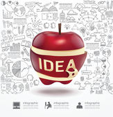 Infographic apple doodles lijn — Stockvector
