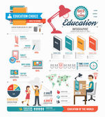 Infographic education template design — Vector de stock