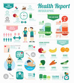 Infographic health sport  template design — Vettoriale Stock
