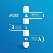 Pencil ribbon line banner — Cтоковый вектор