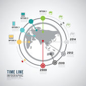 Timeline Infographic world template. — Stock Vector