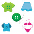 Sewing accessories,needle and thread, buttons and other sewing icons. — Stock Vector