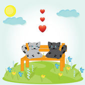 Valentine card with cats and hearts — Stock Vector