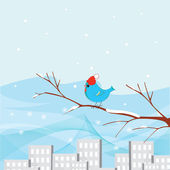 Birdie .winter city illustration for your postcards — Stock Vector