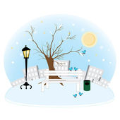 A beautiful park winter overnight — Stock Vector