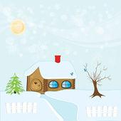Winter house - High detailed vector illustration. — Stock Vector