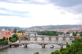 Panoramic view of Prague on a rainy day — Stock Photo