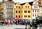 Prague Old Town and horse-cart — Stock Photo