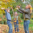 Stock Photo: Happy family in autumn forest play with fallen leaf