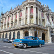 Stock Photo: Classic Cadillac in front of the Great Theather in Havana, Cuba.
