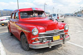 Classic red Plymouth in Havana. Cuba. — Stock Photo