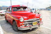 Red Plym Outh oldtimer car, Havana, Cuba — Stock Photo