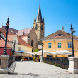 Historical architecture in Sibiu. Old bridge, medieval houses .T — Stock Photo