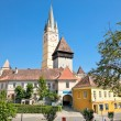 Tower of lutheran church in Medias, Transylvania, Romania — Stock Photo
