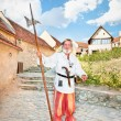 The medieval German Teutonic knight . Rasnov, Romania. — Stock Photo