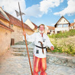 The medieval German Teutonic knight . Rasnov, Romania. - Stock Photo