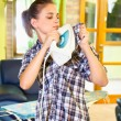 Busy Young woman ironing clothes.  — Stock Photo