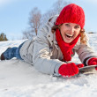 Happy young snowboard girl  on the sunny day — Stock Photo