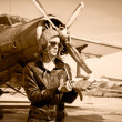 Stock Photo: Portrait of beautiful female pilot