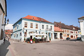 Mian square with old architecture , Medias, Transylvania, Romani — Stock Photo