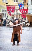 The medieval knight. Sighisoara, Romania — Stock Photo