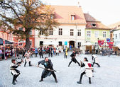 He medieval knights fighting. Sighisoara, Romania — Stock Photo