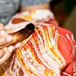 Batik  Javanese technique. Indonesia. - Stock Photo