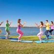 Tree couple , man and woman practice Yoga asana on lakeside. — Stock Photo