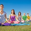 Group of young have meditation on yoga class. — Стоковое фото