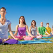 Stock Photo: Group of young have meditation on yogclass.