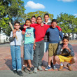 Unidentified Cuban multi-ethnic group of  boys  posing in Santa — Stockfoto