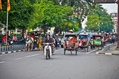 View of Yogyakarta with its typical hundreds of motorbikes on th — Stock Photo
